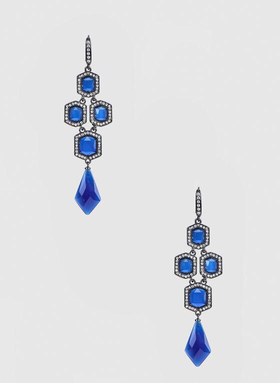 Boucles d'oreilles à pierres hexagonales, Bleu