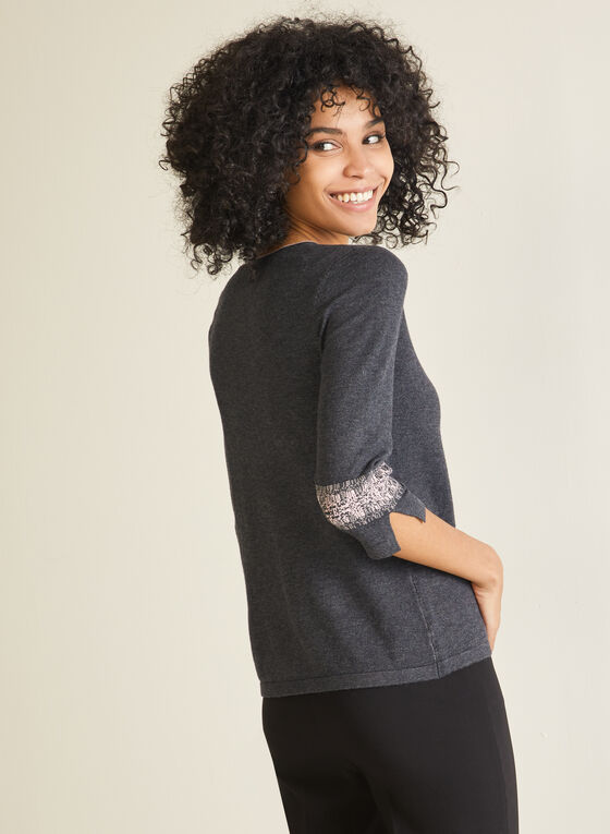 Crystal Detail Contrast Sweater, Grey