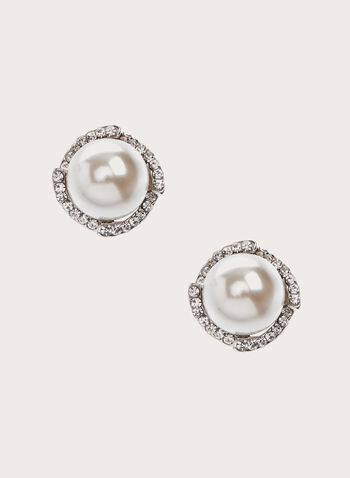 Crystal Embellished Pearl Earrings, Off White, hi-res