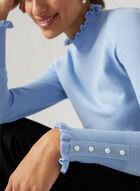 Pull à col roulé avec bordure frison , Bleu, hi-res