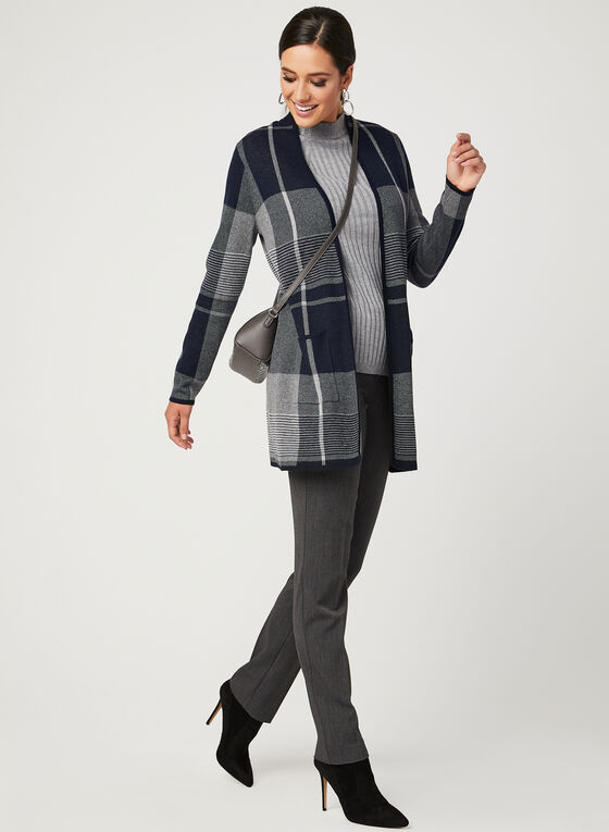 Plaid Jacquard Knit Cardigan, Blue, hi-res
