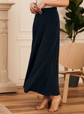 Pull-On Maxi Skirt, Blue,  skirt, pull-on, pockets, maxi, stretchy, made in canada, spring summer 2021