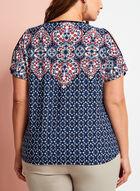 Paisley Print Cold Shoulder Top , Blue, hi-res