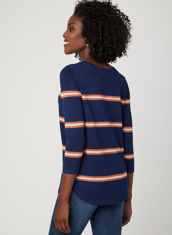 Stripe Print Scoop Neck Sweater, Blue, hi-res