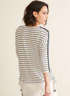 T-shirt rayé à manches ¾, Blanc