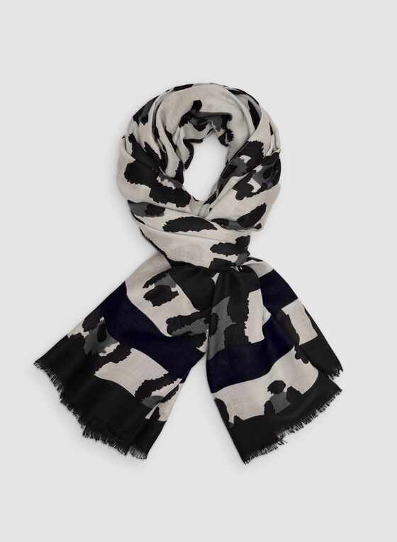 Vince Camuto - Leopard Print Scarf, Grey, hi-res