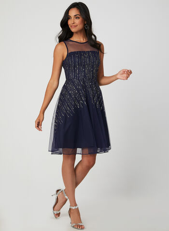 Sleeveless Glitter Mesh Dress, Blue,  cocktail dress, sleeveless, fit & flare, mesh, glitter, illusion neck, fall 2019, winter 2019