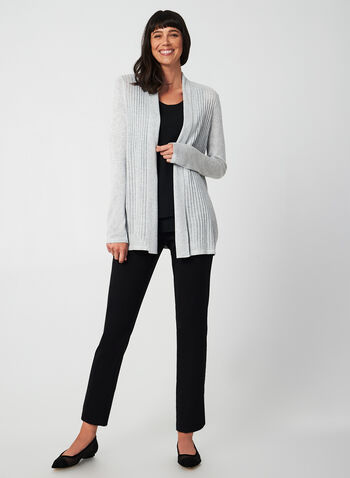 Open Front Pointelle Cardigan, Grey,  cardigan, open front, pointelle, long sleeve, fall 2019, winter 2019