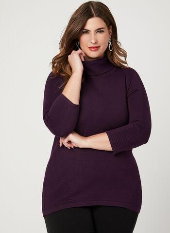 Ottoman Knit Sweater, Purple, hi-res