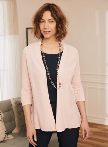 Open Front Pointelle Cardigan, Pink,  cardigan, open front, 3/4 sleeve, spring summer 2020