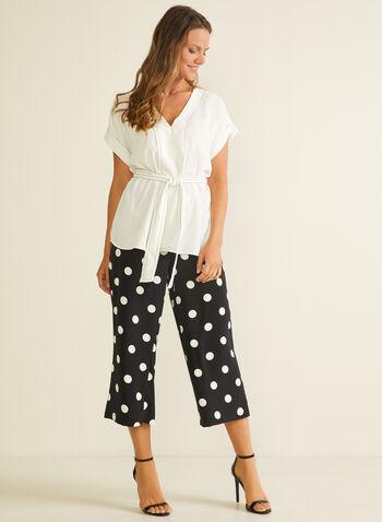 Jules & Leopold - Polka Dot Print Gaucho Pants, Black,  capris, culottes, gaucho, pull-on, wide leg, elastic, polka dot, crepe, spring summer 2020