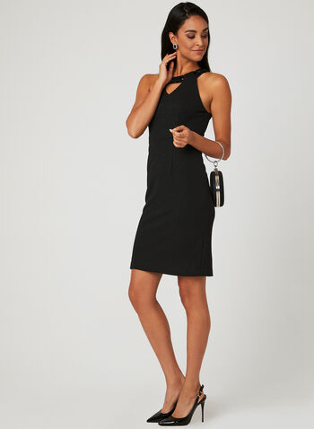 Cleo Neck Glitter Dress, Black, hi-res