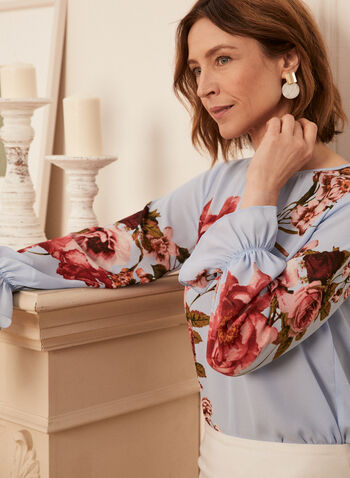 Floral Print Blouse, Blue,  spring summer 2021, top, flowers, flowery, smock, ruffled, boat neck