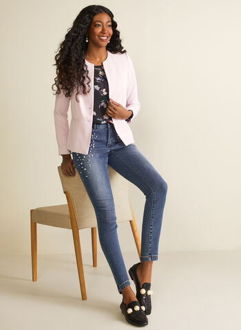 Two-Button Blazer, Purple,  two-button, long sleeves, jacket, blazer