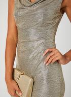 Metallic Drape Neck Dress, Gold, hi-res