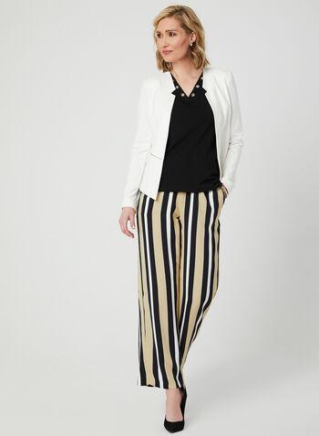 Pantalon rayé à jambe large, Bleu, hi-res,  pull-on, pull on, taille élastique, coupe moderne