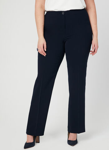 Pantalon coupe moderne à jambe droite, Bleu,