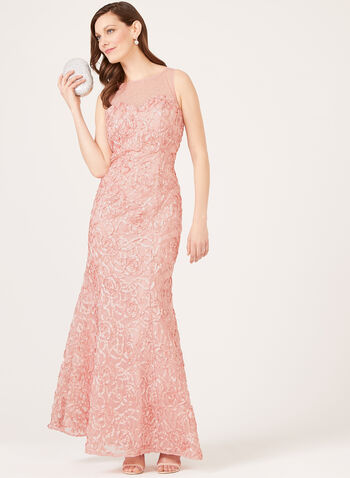 Illusion Neck Mermaid Gown, Pink, hi-res