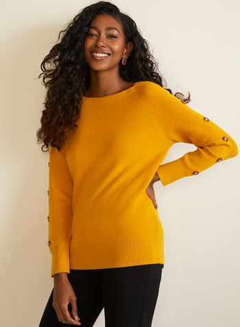 Button Detail Knit Sweater, Yellow,  sweater, long sleeves, knit, buttons, boat neck, fall winter 2020