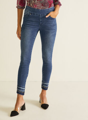 GG Jeans - Straight Leg Embellished Hem Jeans, Blue,  jeans, straight, denim, fringe, embellished, pockets, fall winter 2020