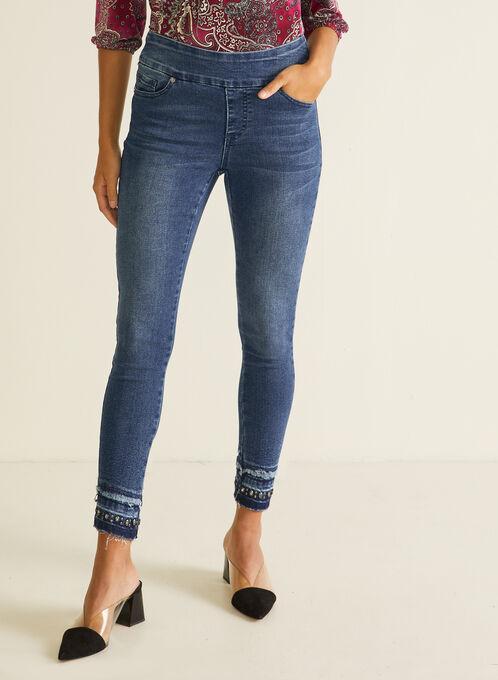 GG Jeans - Straight Leg Embellished Hem Jeans, Blue