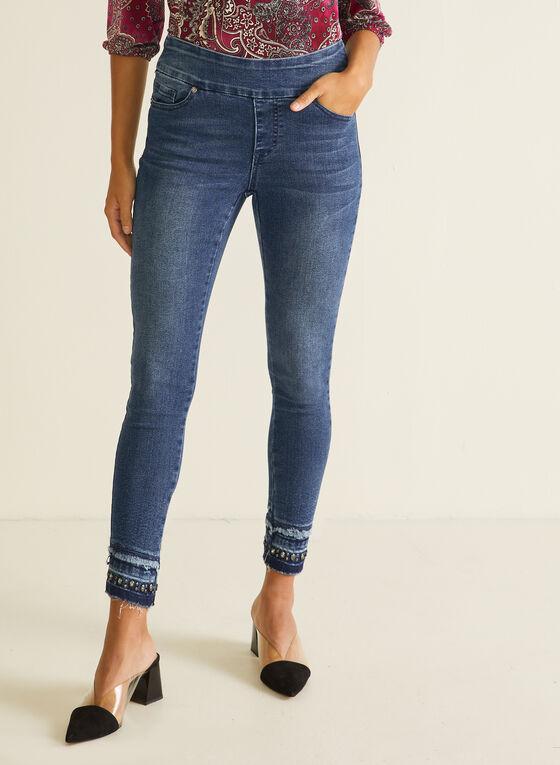 GG Jeans - Jeans droit à ourlet ornementé, Bleu