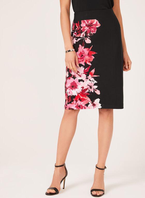 Jupe crayon pull-on à motif floral, Noir, hi-res
