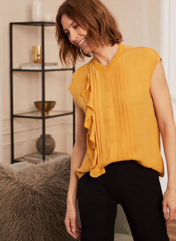 Button Front Ruffle Detail Blouse, Yellow,  top, blouse, ruffled, pleated, cap sleeves, crepe, spring summer 2021