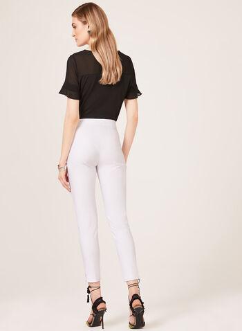 Lace Up Detail 7/8 Pants, White, hi-res