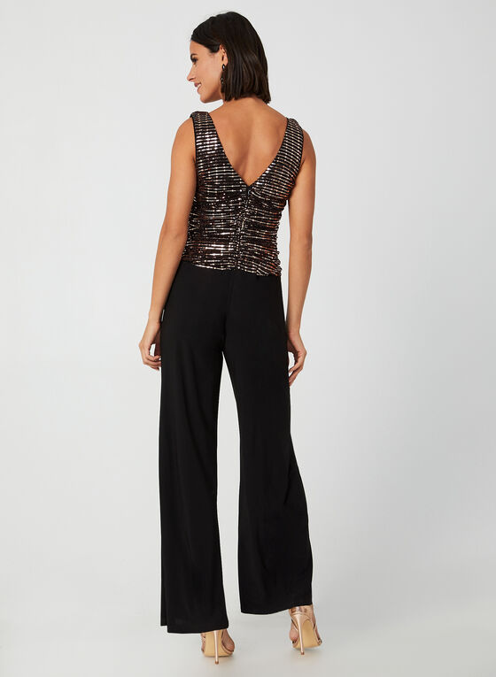 Sleeveless Glitter Jumpsuit, Black