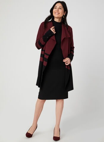Cardigan long ouvert à rayures, Noir,  cardigan, manches longues, tricot, rayures, long, automne hiver 2019