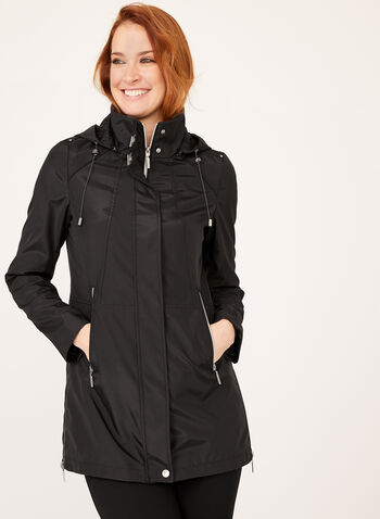 Novelti - Zipper Trim Raincoat, Black, hi-res