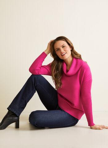Pull en tricot à col bénitier, Violet,  automne hiver 2020, pull, chandail, manches longues, manches dolman, épaules tombantes, tricot, côtelé, col bénitier