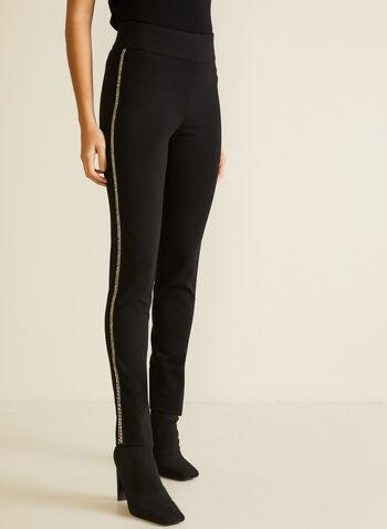 Stripe Detail Slim Leg Pants, Black,  pants, slim leg, ponte di roma, stripe, glitter, pull-on, fall winter 2020