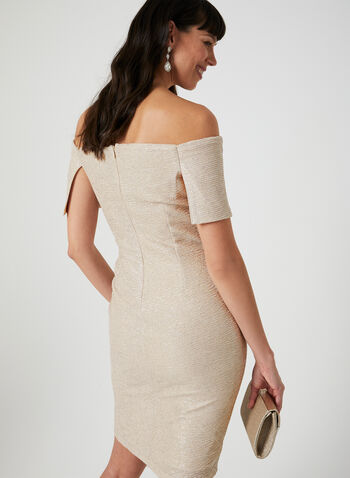 Marina - Textured Off-the-Shoulder Dress, Brown, hi-res