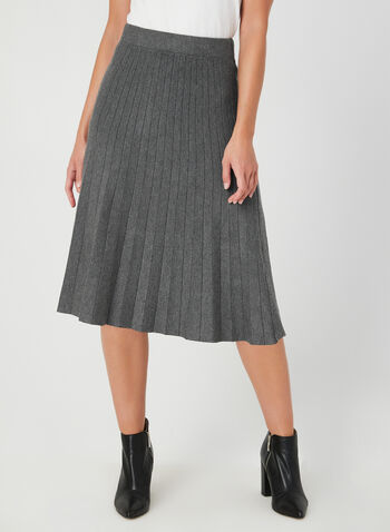 Pleated Knit Skirt, Grey, hi-res,  skirt, pleated, knit, pull on, fall 2019, winter 2019