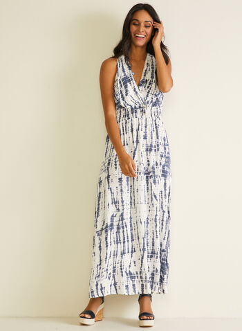 Sandra Darren - Abstract Print Maxi Dress, Blue,  dress, abstract, tie-dye, smocked, jersey, sleeveless, v-neck, spring summer 2020