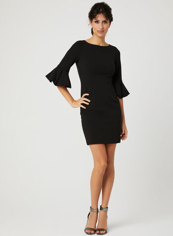 Puffed Bell Sleeve Sheath Dress, Black, hi-res
