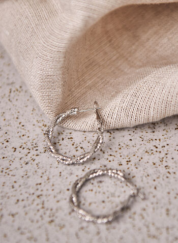 Textured Twist Hoop Earrings, Silver,  jewellery, accessories, earrings, hoop, textured, twist, metallic, spring summer 2021