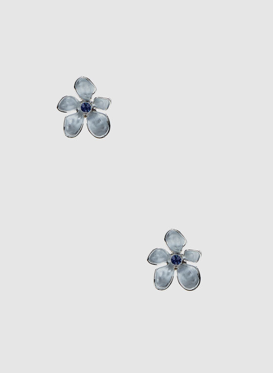 Flower Stud Earrings, Blue, hi-res