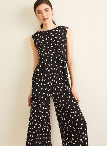 Knot Detail Polka Dot Jumpsuit, Black,  jumpsuit, polka dot, knot, stretchy, sleeveless, wide leg, spring summer 2020