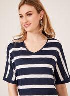 T-shirt rayé à manches courtes dolman, Bleu, hi-res