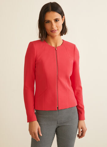 Crew Neck Zipper Detail Blazer, Red,  blazer, long sleeves, sipper, crew neck, shoulder pads, crepe, spring summer 2020