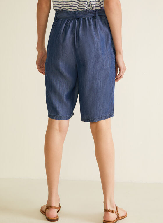 Denim-Style Belted Shorts, Blue