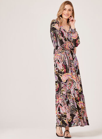 Maxi Paisley Print Dress, Black, hi-res