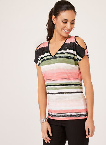 Stripe Print Cold Shoulder Top, Green, hi-res