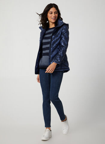 Packable Down Coat, Blue, hi-res,  coat, packable, down, quilted, detachable hood, fall 2019, winter 2019