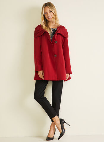 3-Season Hooded Coat, Red,  coat, button, hood, asymmetric, fall winter 2020