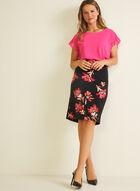 Floral Print Straight Skirt, Black