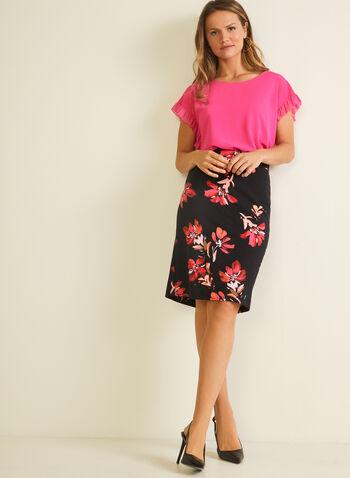 Floral Print Straight Skirt, Black,  skirt, pull-on, straight, floral, ponte di roma, hemline slit. spring summer 2020